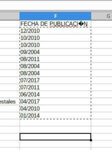 Necesito ordenar esta lista por fecha y como que no reconoce que esta en mes/año, y lo pone como están viendo. Ordena por mes y luego por año, y no es lo que necesito. LibreOffice Calc